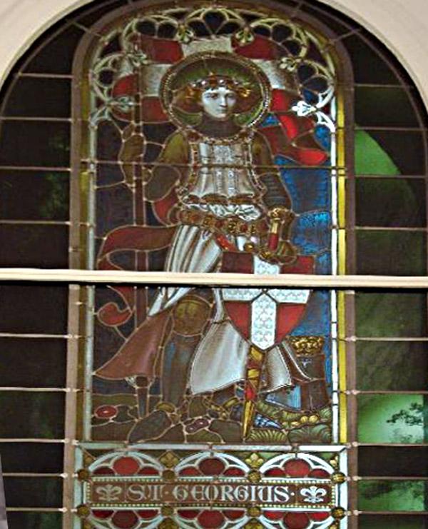 Lange Reihe 39: Bleiglasfenster mit Ritter St. Georg